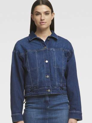 DKNY Denim Jacket With Lace-Up Detailing