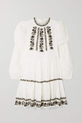 Ulla Johnson Ceres Sequined Embroidered Crinkled Cotton-voile Mini Dress - White