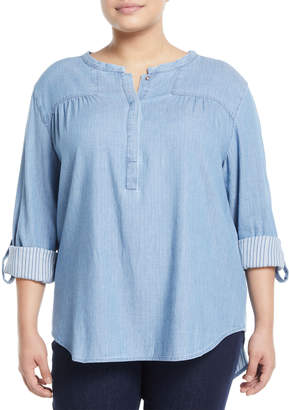 NYDJ Tessa Chambray Pullover Blouse, Plus Size