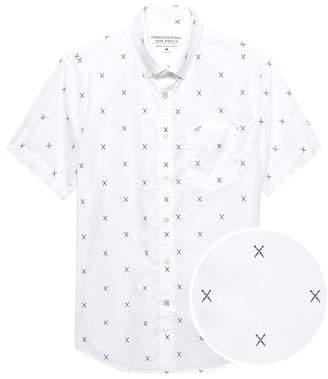 Banana Republic Grant Slim-Fit Luxe Poplin Short-Sleeve Ski Print Shirt
