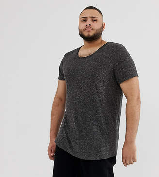 808bb69d Asos Design DESIGN Plus longline t-shirt with scoop neck and curved hem in  linen