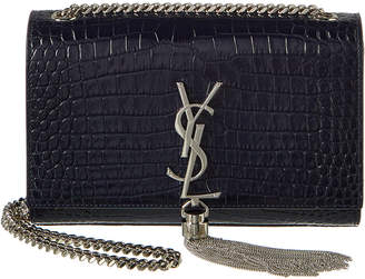Saint Laurent Small Kate Tassel Croc-Embossed Leather Shoulder Bag