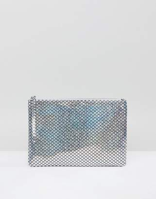South Beach Silver Holographic Mermaid Zip Top Pouch