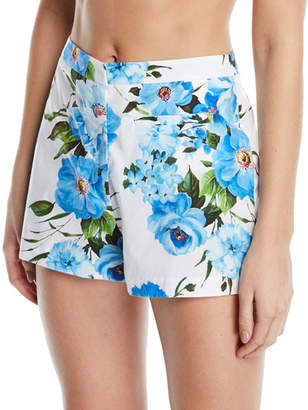 Milly Trudee Floral-Print High-Waist Shorts