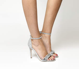 Office Headline Gem Trim Sandals Silver Glitter