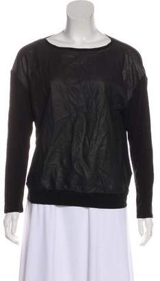 Alice + Olivia Leather-Accented Long Sleeve Sweatshirt