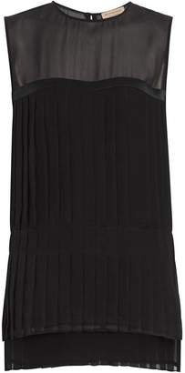 Burberry Sleeveless Pleated Silk Georgette Top
