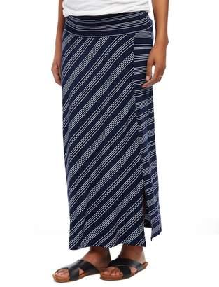 Motherhood Maternity Fold Over Belly Front Slit Maternity Maxi Skirt