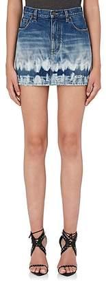 Saint Laurent Women's Distressed Tie-Dyed Denim Miniskirt
