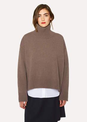 Paul Smith Women's Hazelnut Lambswool Split-Side Roll Neck Sweater