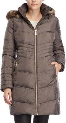 MICHAEL Michael Kors Faux Fur-Trimmed Down Long Coat