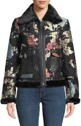 Bagatelle Tapestry Print Faux-Shearling Aviator Jacket