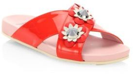 Fendi Flowerland Embellished Patent Leather Crisscross Slides