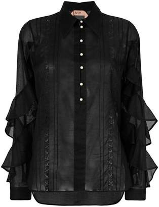No.21 pointed collar frill sleeve blouse