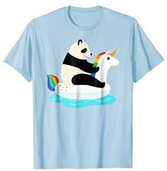 Panda Riding Unicorn Water Float T-Shirt
