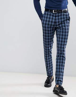 Asos Super Skinny Suit Pants In Blue Tartan Check