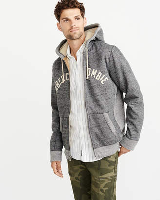 Abercrombie & Fitch Sherpa-Lined Full-Zip Hoodie