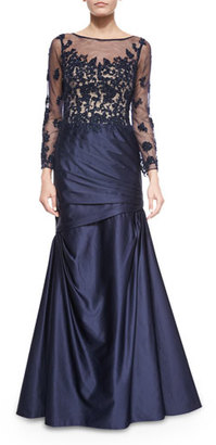 La Femme Long-Sleeve Ruched Lace & Satin Gown, Navy $610 thestylecure.com