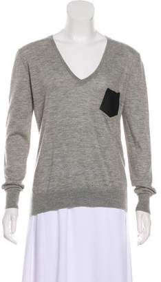 The Kooples Cashmere Leather-Accented Sweater