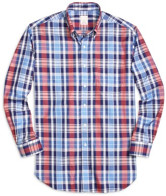 Brooks Brothers Golden Fleece Madison Fit Large Plaid Sport Shirt