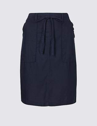 Marks and Spencer Linen Rich Elasticated Waist Mini Skirt