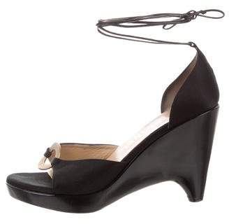 Chanel Satin Wedge Sandals