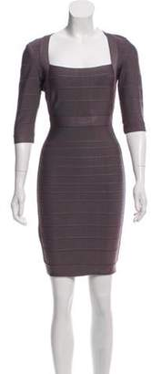 Herve Leger Short Sleeve Mini Dress Grey Short Sleeve Mini Dress