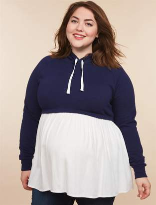 Motherhood Maternity Plus Size Long Sleeve Hooded Maternity Sweatshirt Twofer