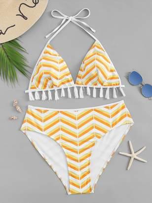 SheinShein Plus Chevron Tassel Trim Top With High Waist Bikini
