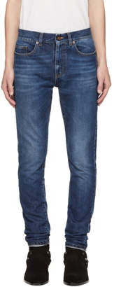 Saint Laurent Navy Low-Waisted Skinny Jeans