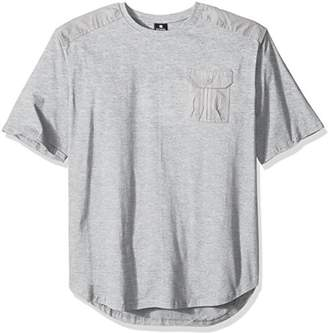 Southpole Men's Big and Tall Short Sleeve Scallop Tee With Fine Twill Detail