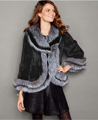 The Fur Vault Fox-Fur-Trim Knitted Mink Fur Jacket