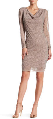 Marina Metallic Bead Embellished Shift Dress $249 thestylecure.com