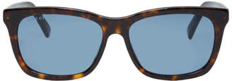 Gucci Tortoiseshell and Blue Oversized Wearable Sunglasses