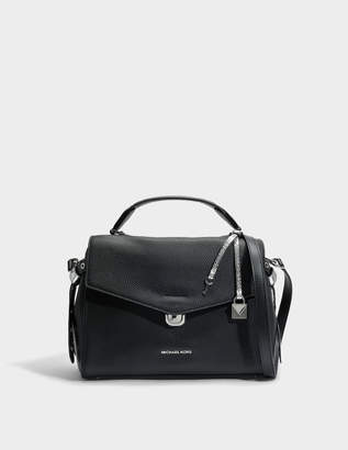 MICHAEL Michael Kors Bristol Medium Top Handle Satchel Bag in Black Pebble Leather