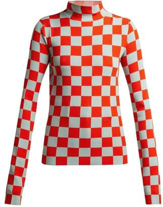 Jil Sander High Neck Checked Jersey Top - Womens - Red Multi