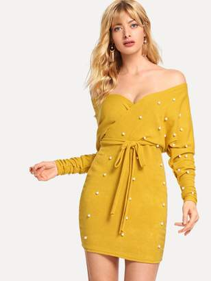 Shein Pearl Beaded Cut Out Back Belted Dress