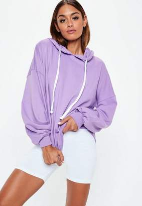 Missguided Mauve Oversized Puff Sleeves Hoodie