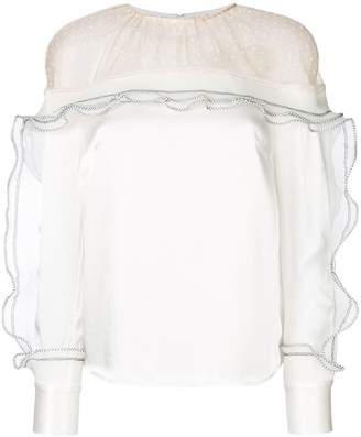 Self-Portrait ruffle sheer panel blouse