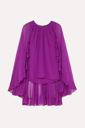 Giambattista Valli Cape-effect Silk-chiffon Top - Purple