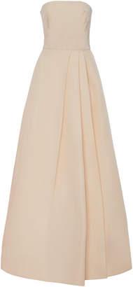 Monique Lhuillier Silk-Faille Strapless Gown