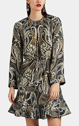 Chloé Women's Metallic Paisley Silk-Blend Flared Dress - Grn, Blu