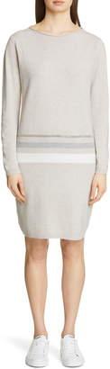 Fabiana Filippi Stripe Long Sleeve Wool Blend Sweater Dress