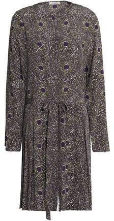 Pleated Printed Silk Dress