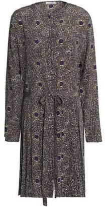 Nina Ricci Pleated Printed Silk Dress