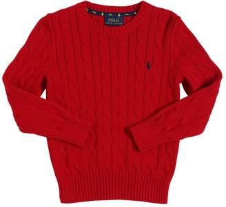 Ralph Lauren Cotton Cable Tricot Knit Sweater