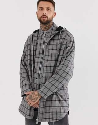 Asos Design DESIGN two-piece parka jacket in gray check