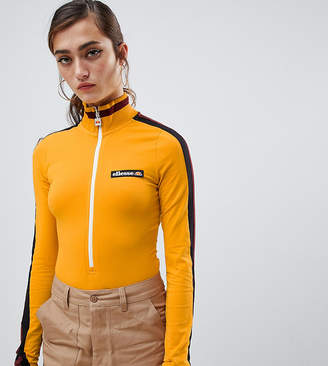 Ellesse high neck body with zip front and contrast stripe sleeve