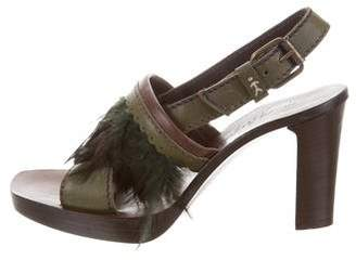 Henry Beguelin Feather-Accented Slingback Sandals
