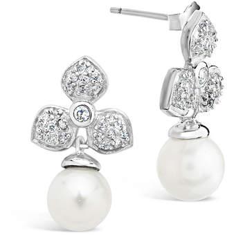 Sterling Forever Silver Pearl & Cz Earrings